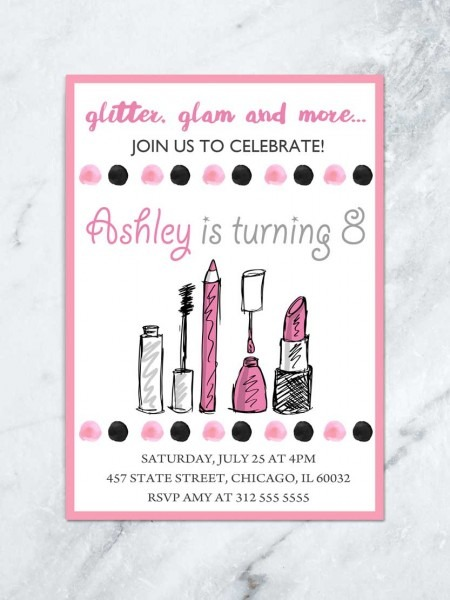 Makeup Birthday Invitation, Glitz & Glam Birthday Invitation