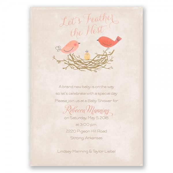 19 Images Of Feather Baby Shower Invitations