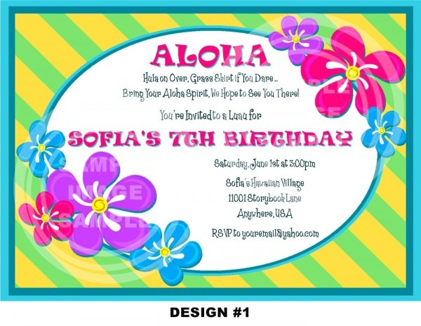 New Luau Birthday Party Invitation Wording