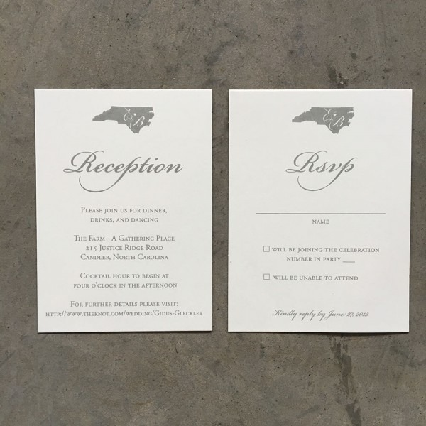 North Carolina Love Wedding Invitation With Monogram In Gray Ink