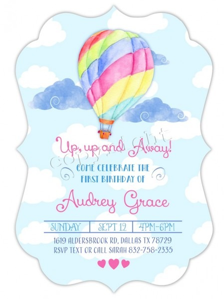 Printable Balloon Invitation For Girl Birthday Party W Matching