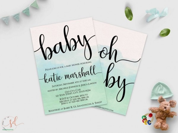 Oh Baby Baby Shower Invitation Mint Green Watercolor Invite Fresh