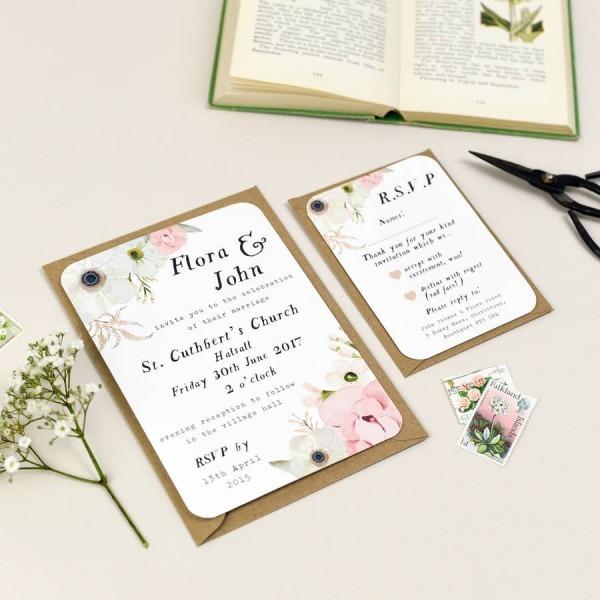 Blush Floral Wedding Invitation By Nina Thomas Studio