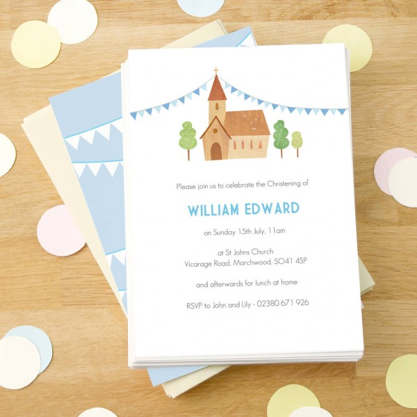 Personalised Boy's Christening Invitations By Made By Ellis