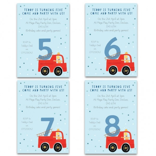 Personalised Fire Engine Birthday Invitations By Made By Ellis