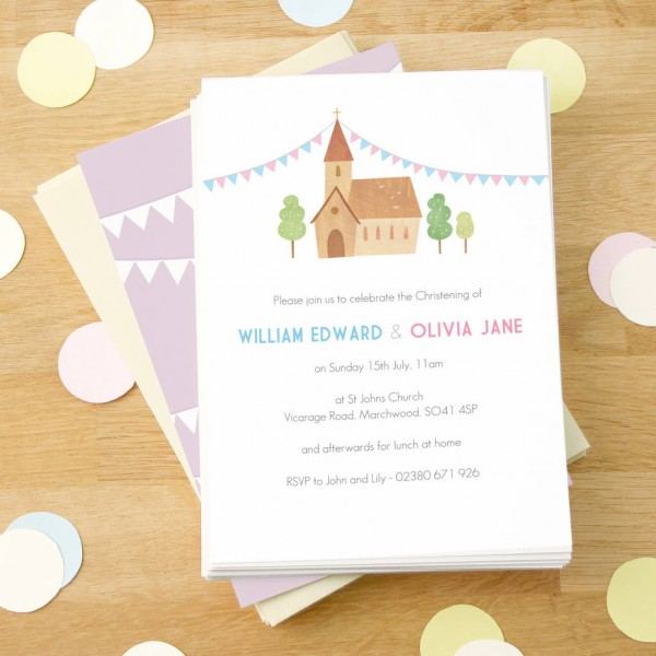 Personalised Twin's Christening Invitations By Made By Ellis