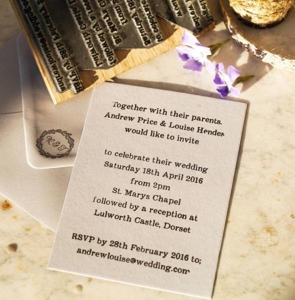 Wedding Invitation Stamp By English Stamp Company