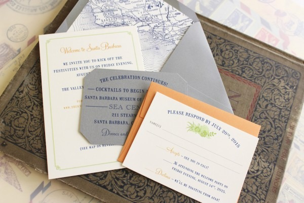 Vellum Overlay Vintage Wedding Invitation (santa Barbara)