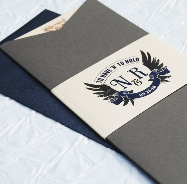 Rock N Roll To Have And To Hold Wedding Invitation (charcoal Jacket)