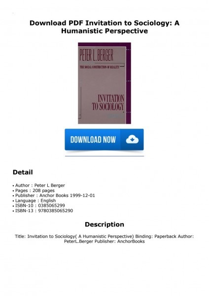 Download Pdf Invitation To Sociology  A Humanistic Perspective By