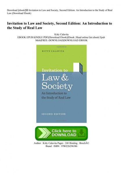 Download [ebook]$$ Invitation To Law And Society Second Edition An