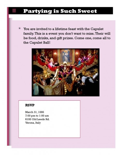 Capulet Feast Invitation By Svhs Library Mitchell