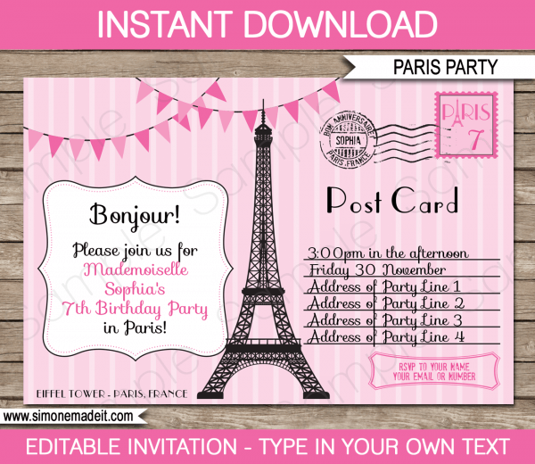 Invitation Ideas  Paris Party Invitations Free