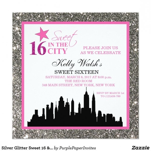 Party City Invitations Wedding Silver Glitter Sweet 16 & The City