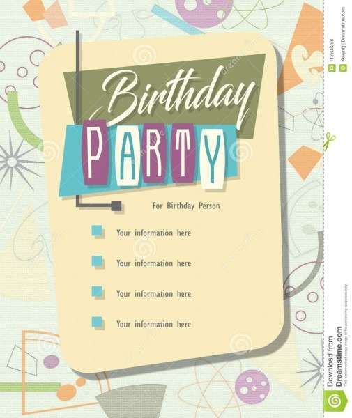 Birthday Party Invitation Pizza Bowling Retro Stock Illustration