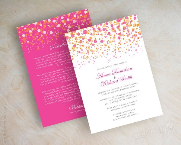 23 Fuschia And Orange Wedding Invitations, Orange Wedding