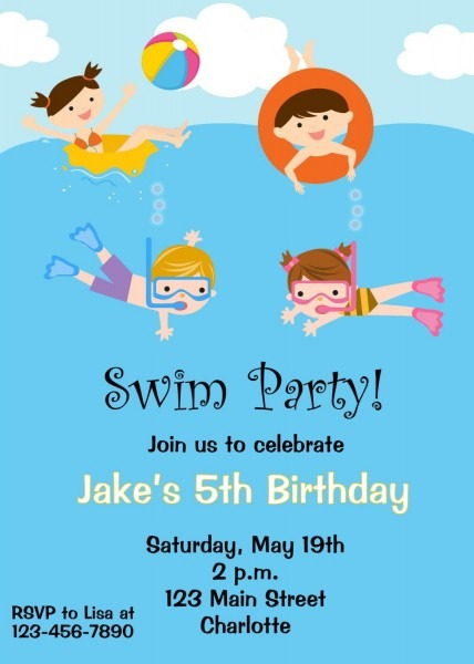 Pool Party Birthday Invitation Pool Party Pool Toys Swimming For