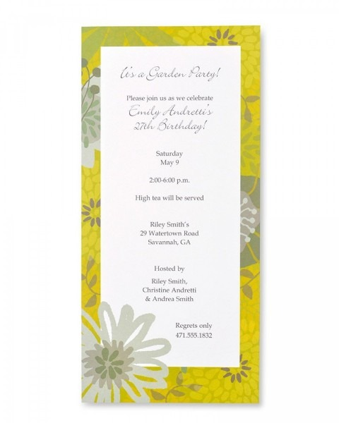 Lime Floral Print At Home Invitations