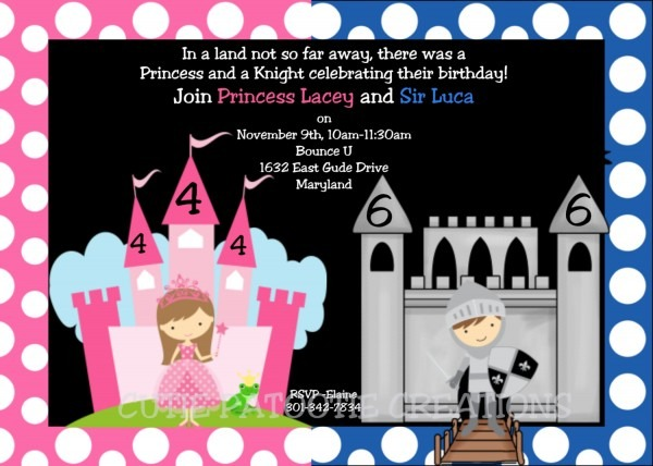 Princess And Knight Party Invitations
