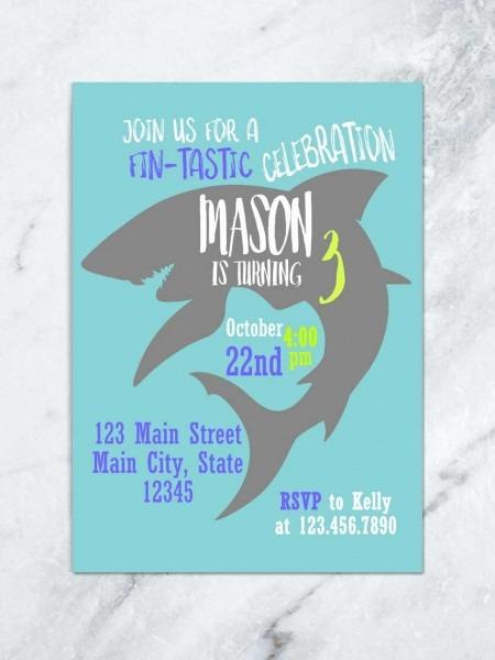 Product Simple Shark Birthday Invitations