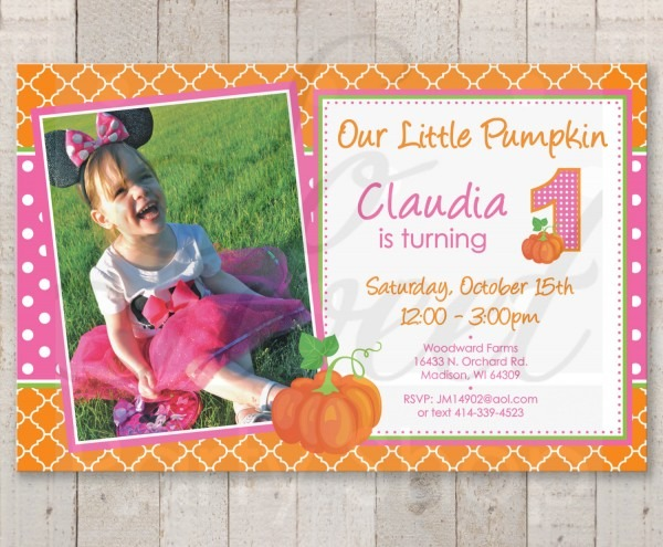 Pumpkin 1st Birthday Invitations, Girls Pumpkin Birthday Invites