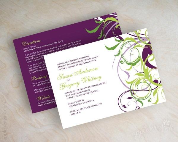 Modern And Simple Purple White Wedding Invitation One Set