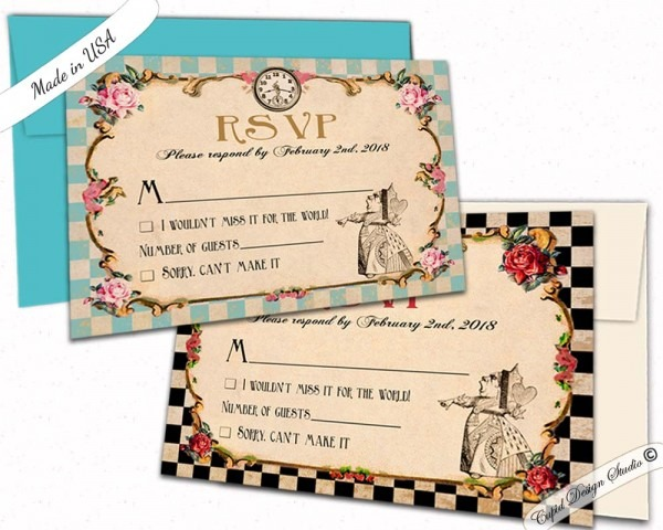 Alice In Wonderland Wedding Rsvp Card  Queen Of Hearts Wedding