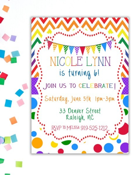 Rainbow Birthday Party Invitation, Birthday Party Invitation