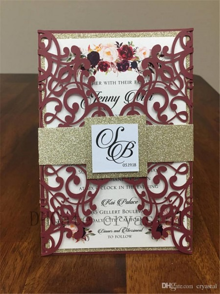 Beautiful Marsala Burgundy Shimmer Wedding Invitation Set Includes