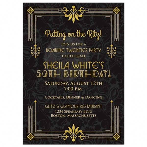 Invitation  Roaring 20's Party Invitations