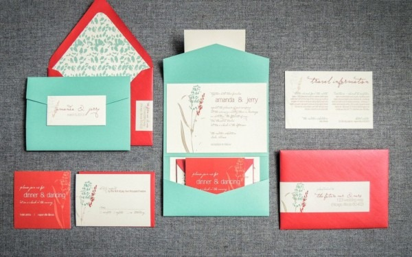 Red Rustic Invitations, Turquoise Wedding Invitations, Barnyard