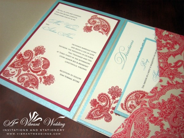 Red And Turquoise Wedding Invitation – A Vibrant Wedding Invitations