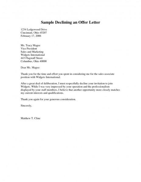 Regret Letter For Offer Of Job Jidiletter Co Rejecting A