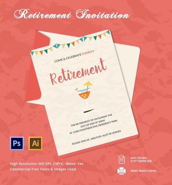 Retirement Party Flyer Template Word Invitation Templates Free