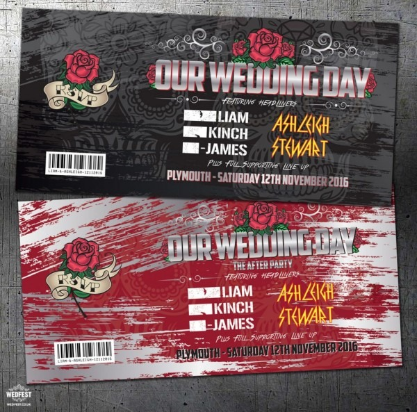 Heavy Metal Festival   Rock And Roll Concert Wedding Invitations