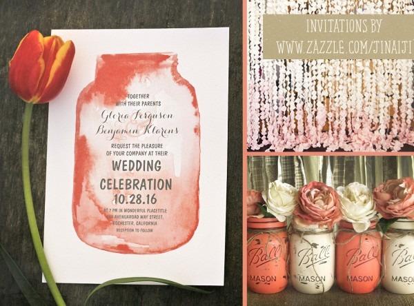 Watercolor Mason Jar Wedding Invitation – Need Wedding Idea