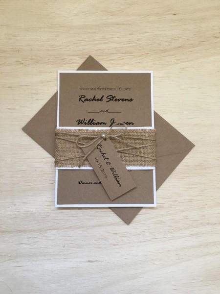 Rustic Wedding Invitation, Burlap Wedding Invitation, Twine Pearl