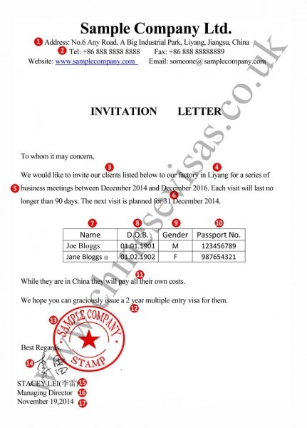 Sample Letter Of Invitation Invitation Letter Visa To China And