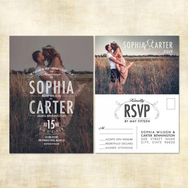 Sample Photo Wedding Invitation, Rsvp Postcard  2507392
