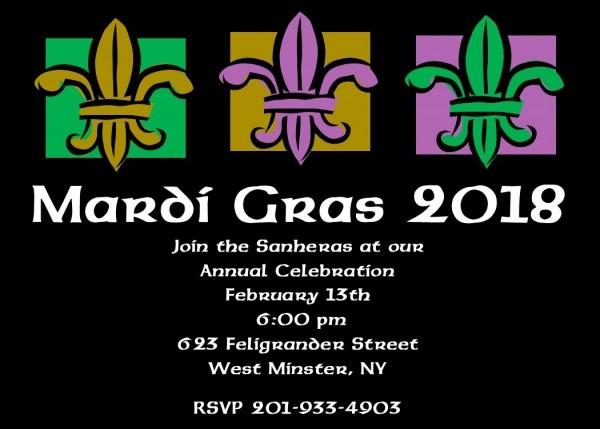 Mardi Gras Party Invitations 2019