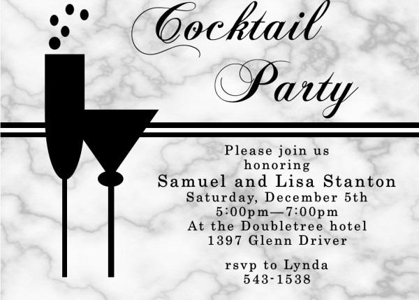 Sar Elegant Cocktail Party Invitation Wording