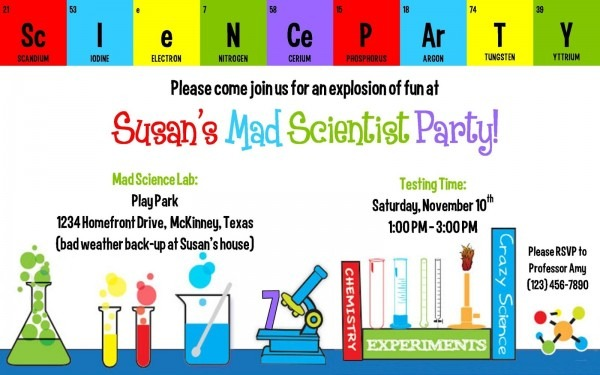 Science Party Invitation Template Popular Mad Scientist Party