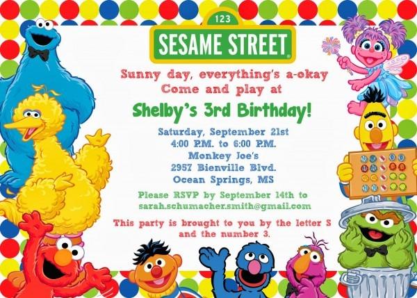 Sesame Street Birthday Invitations Sesame Street Birthday