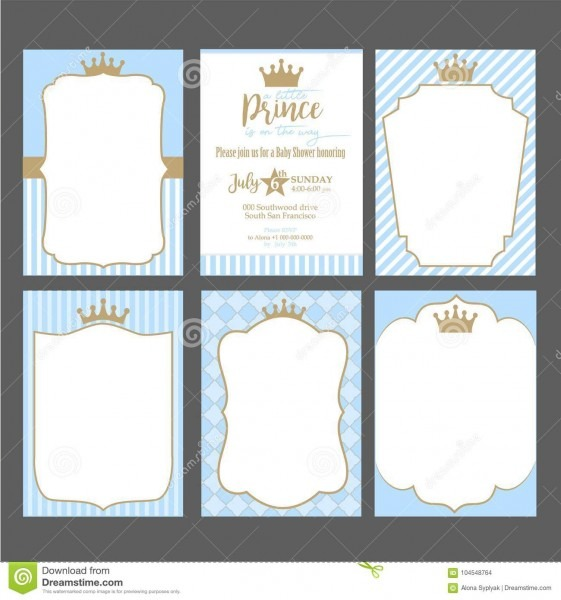 A Set Of Cute Blue Templates For Invitations  Vintage Gold Frame