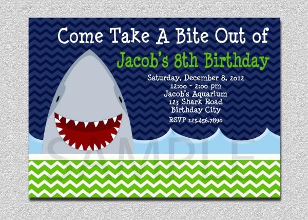Shark Birthday Invite From Ildestudio For A Attractive Birthday