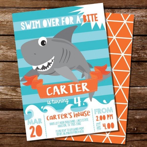 Shark Party Invitation X Cool Shark Birthday Party Invitations