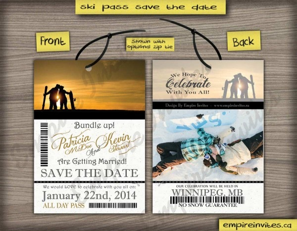 Custom Ski Pass Lift Ticket Save The Date Wedding Invitations From