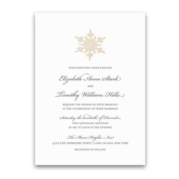 Elegant Winter Wedding Invitations Silver Gold Snowflake