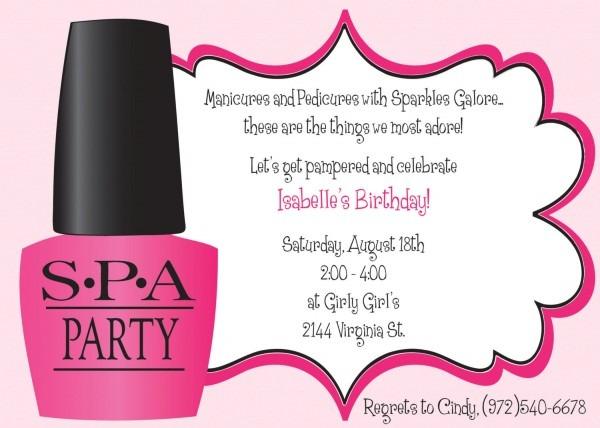 Spa Birthday Party Invitations Spa Birthday Party Invitations