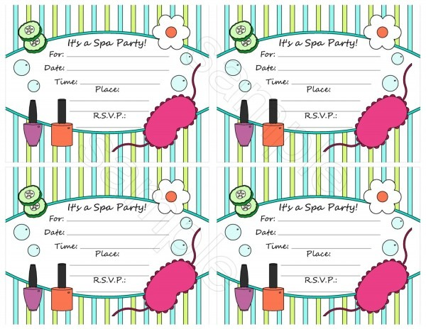 Spa Slumber Party Invitations Free Printable Ideal Spa Party